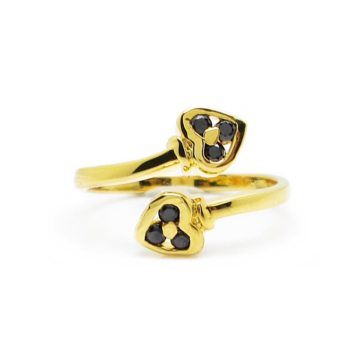แหวนฟรีไซส์หัวใจประดับพลอยสีนิลชุบทอง