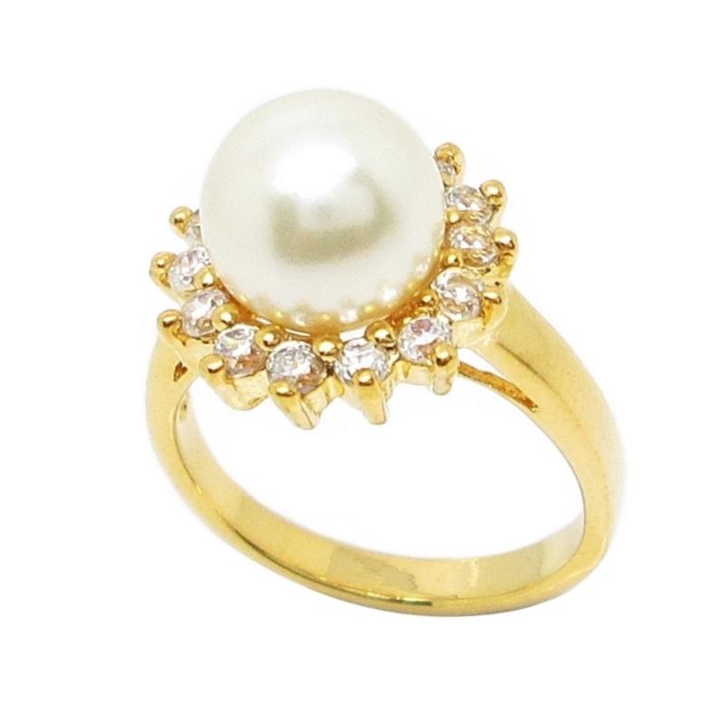 แหวนมุกประดับเพชรชุบทอง