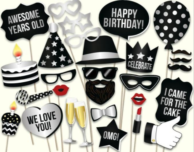BLACK HAPPY BIRTHDAY Photo Booth Prop