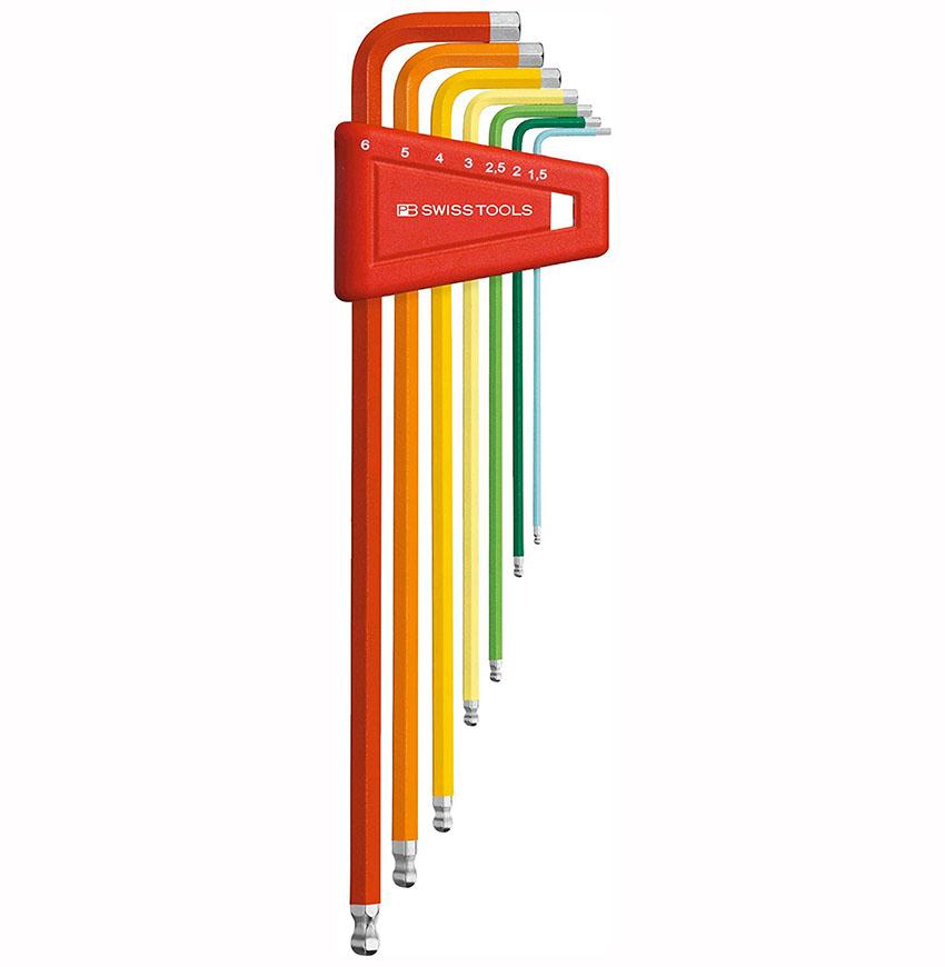 หกเหลี่ยมชุด PB Swiss Tools หัวบอล ยาว รุ่น PB 212 LH-6 RB (7 ตัว/ชุด)