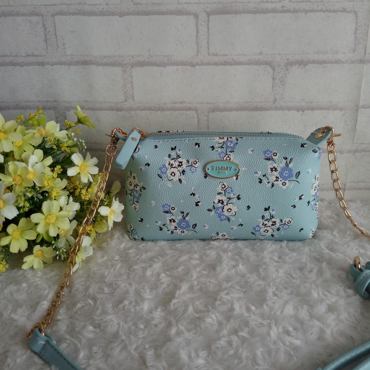 FS0977-กระเป๋าพิมมี่ลายดอก ไซส์มินิ ขนาด 1.5*8*4.5 นิ้ิ้ว งานน่ารัก ด้านใน 1 ช่อง มีช่องใส่ของด้านใน สายยาวปรับได้