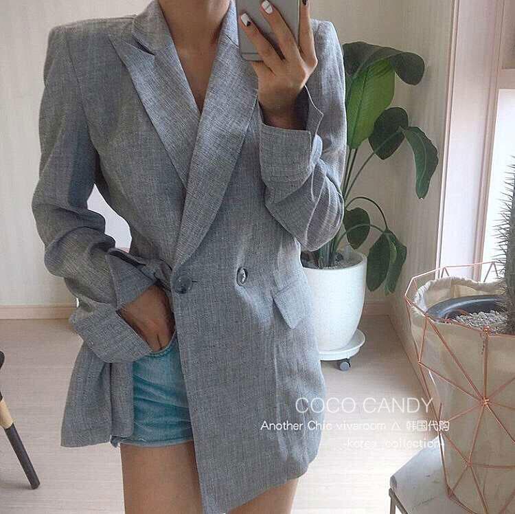 เสื้อคลุมแฟชั่น U Back Long Blazer