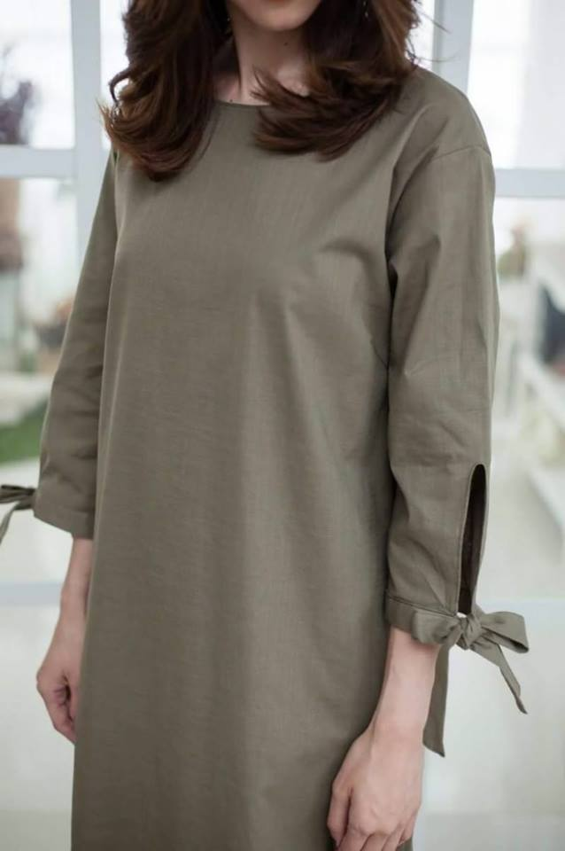 Bow tied sleeved everyday dress_Military Green