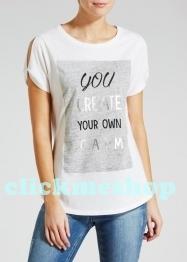 (ไซส์ 16 หน้าอก 44-46 นิ้ว ) เสื้อยืด สีขาว ยี่ห้อ Papaya สกรีนลาย you create your own