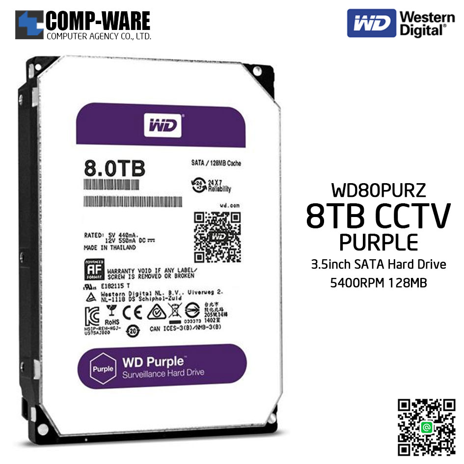 WD Purple 8TB AV Surveillance Hard Disk Drive - 5400RPM SATA 6Gb/s 128MB Cache 3.5 Inch - WD80PURZ