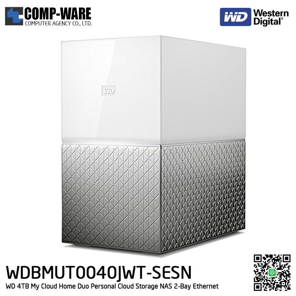 WD 4TB My Cloud Home Duo Personal Cloud Storage NAS 2-Bay Ethernet - WDBMUT0040JWT-SESN