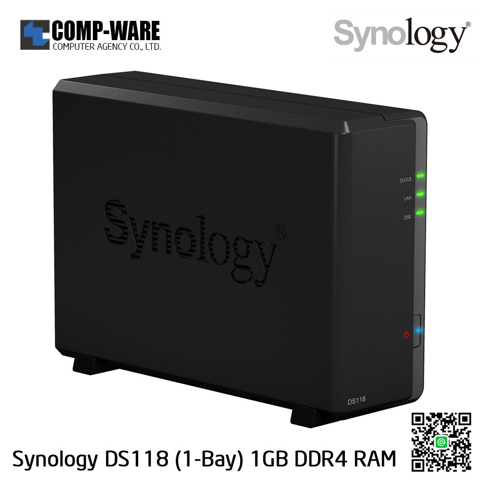 Synology DiskStation (1-Bay) DS118 (1GB DDR4 RAM)