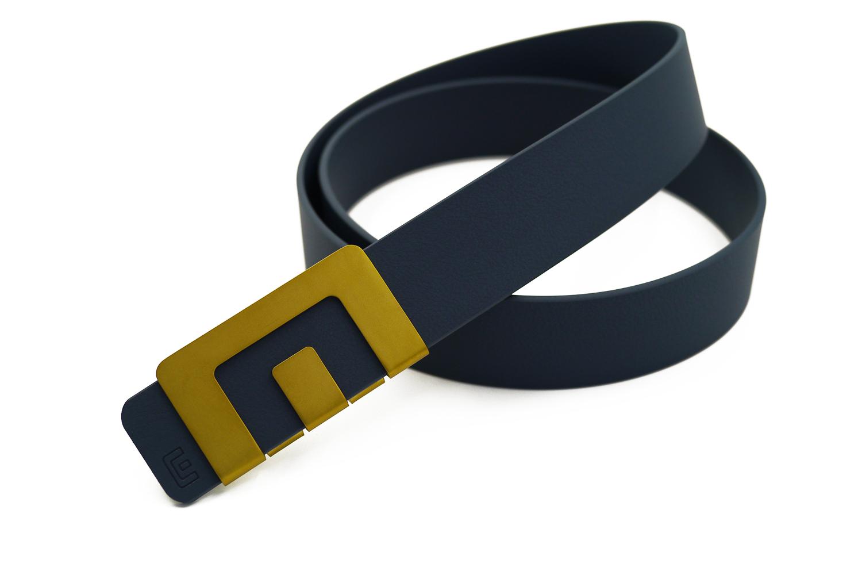 เข็มขัด MIN Belt หัวทอง - สายน้ำเงิน