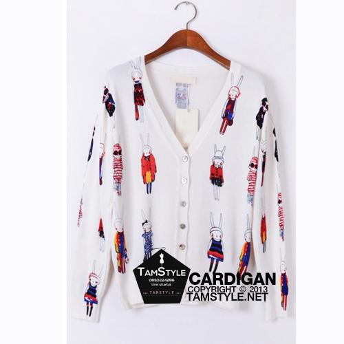 Coat-207 เสื้อคลุม Cadigan แขนยาว พิมพ์ลายกระต่าวยสีขาว ผ้านิ่มใส่สบาย อก 36 นิ้วยาว 18 นิ้ว (สินค้าพร้อมส่ง)