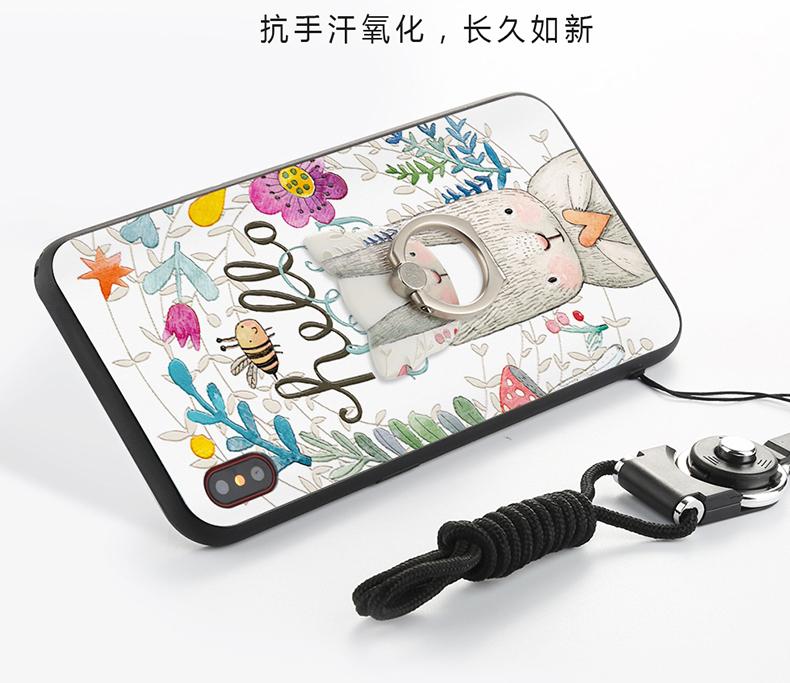 (025-882)เคสมือถือไอโฟน Case iPhone X เคสนิ่มซิลิโคนลายน่ารักพร้อมแหวนมือถือและสายคล้องคอถอดแยกได้