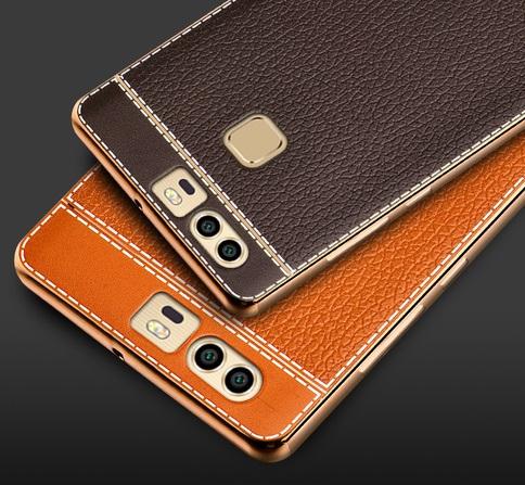 (025-254)เคสมือถือ Case Huawei P9 เคสนิ่มขอบชุบแววพื้นหลังลายหนัง