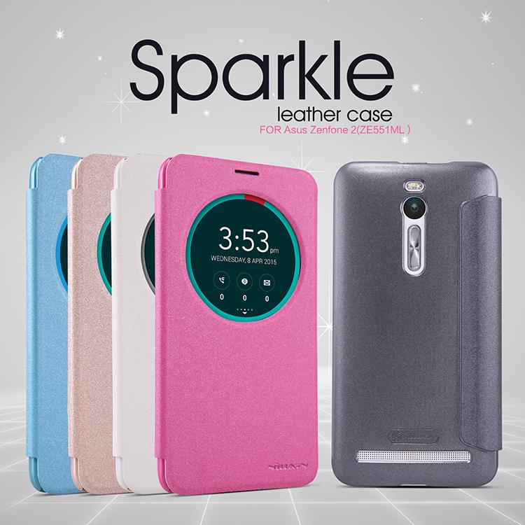 "Asus Zenfone2 (5.5"") - เคสฝาพับ Nillkin Sparkle leather case แท้"