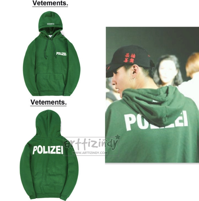 Hoodie VETEMENTS POLIZEI GREEN Sty.KRIS -ระบุไซต์-
