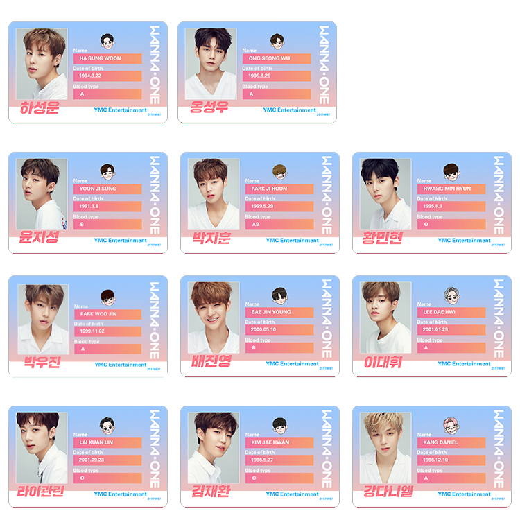 Sticket Card WANNA ONE School (all member)
