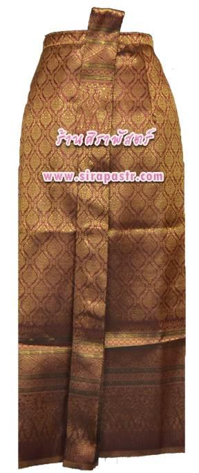 ผ้าถุงป้าย-หน้านาง B1-7 สีเลือดหมู 1 (เอวใส่ได้ถึง 28 นิ้ว) *แบบสำเร็จรูป-รายละเอียดตามหน้าสินค้า