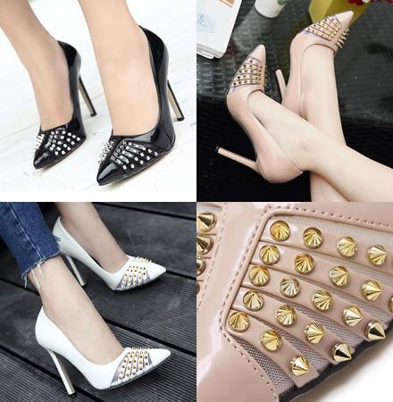 รองเท้าส้นสูง ไซต์ 35-40 สีดำ/ขาว/ชมพู