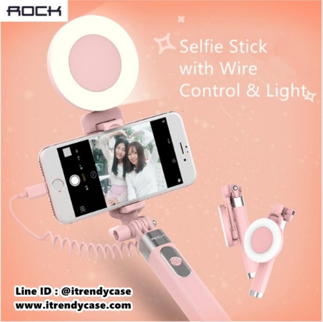 ไม้ถ่ายรูป iPhone 7 / 7 Plus Rock mini Selfie Stick Lightning & LED Light แท้