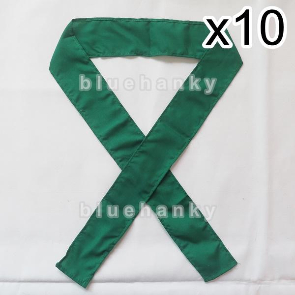 10ชิ้น ผ้าคาดหัว พันข้อมือ พันแขน 5*110ซม สีเขียวเข้ม