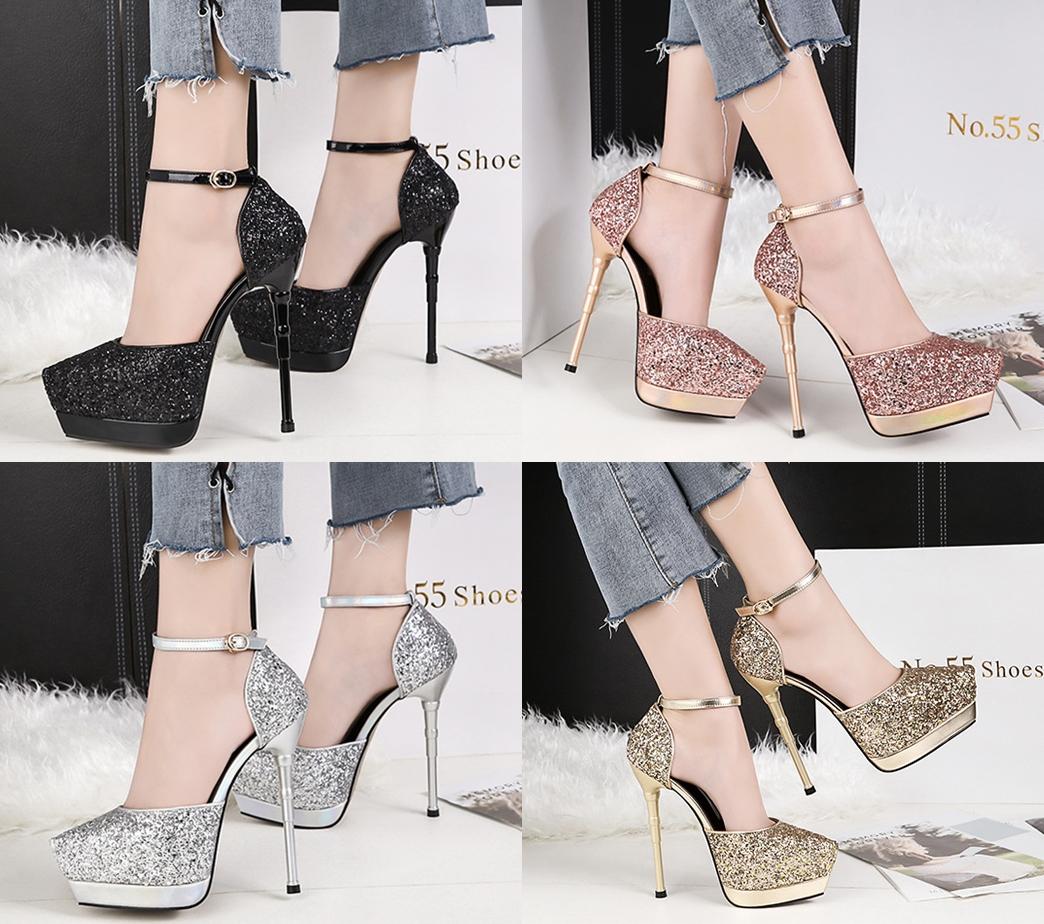 รองเท้าส้นสูงเกร็ดเพชรแน่นสีดำ/ขาว/เงิน/ทอง/แชมเปน ไซต์ 34-39