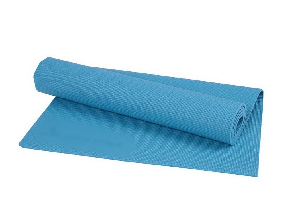 เสื่อโยคะ PVC ปลอดสารพิษ สีฟ้า ขนาด 6 mm. แถมกระเป๋า+สายรัด