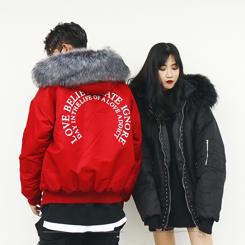 *Pre Order* Jacket hooded ขนสัตว์ แฟชั่นญี่ปุ่นชาย/หญิง size S- M-L-XL สีดำ/แดง