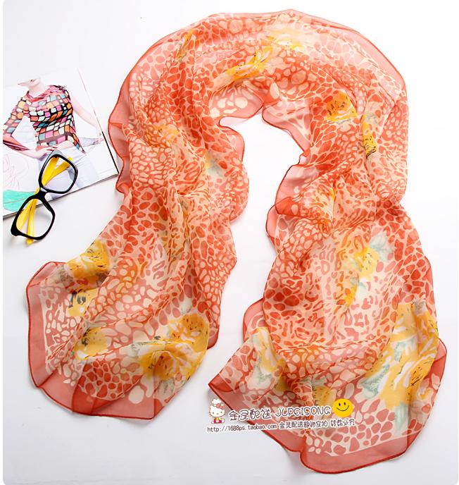 ผ้าพันคอผ้าไหม ลายดรีมเสือดาวสีส้ม ( รหัส P106 )
