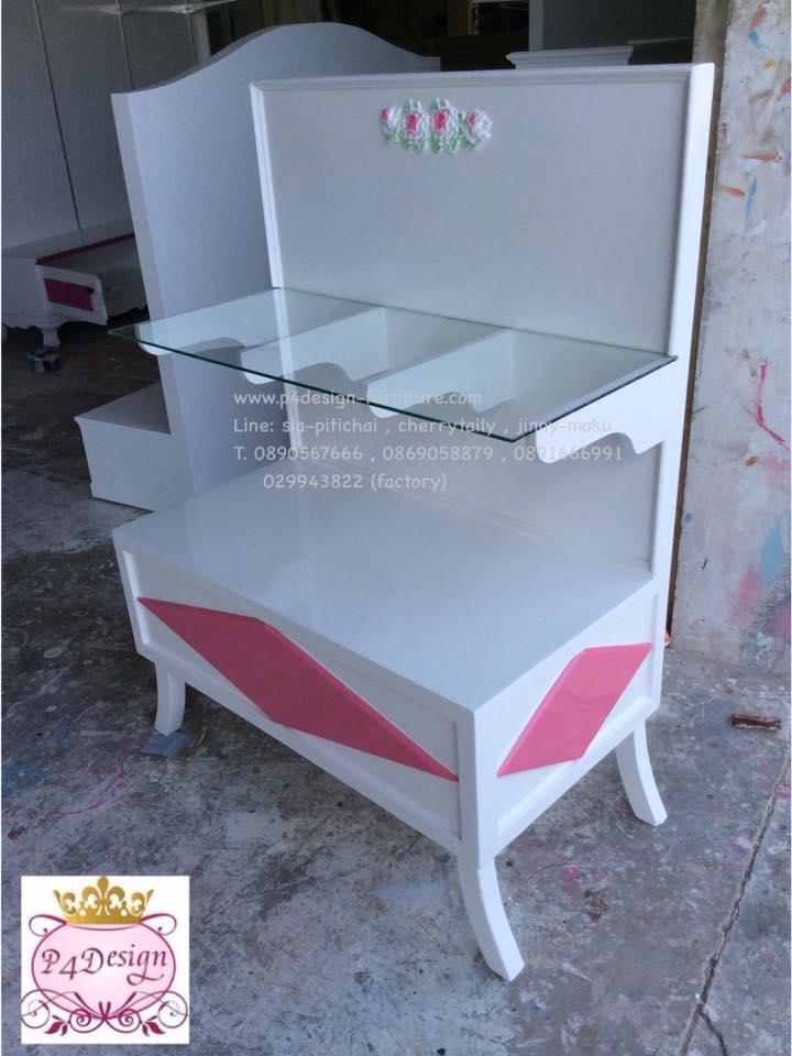 โต๊ะชั้นวางลิ้นชัก วินเทจสีขาว สำหรับบ้าน ร้านค้า
