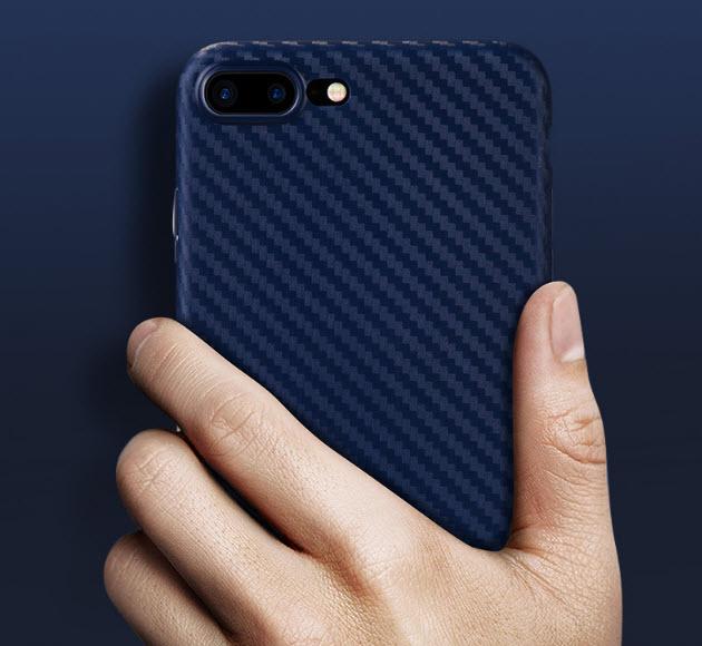 เคสไอโฟน 6Plus/6sPlus TPU CASE (เคสยางนิ่ม คลุมรอบเครื่อง) ลายเคฟล่า สีน้ำเงิน