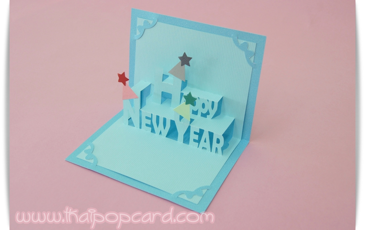 A60การ์ด Happy New Year โทนสีฟ้าอ่อน