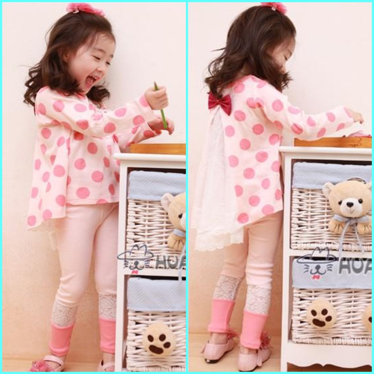 เสื้อผ้าเด็กขายส่งยกแพ็ค ชุดเสื้อระบายหลัง และกางเกงเลคกิ้งลูกไม้ที่ปลายขา แพ็ค 5 ชุด ไซด์ 100-140