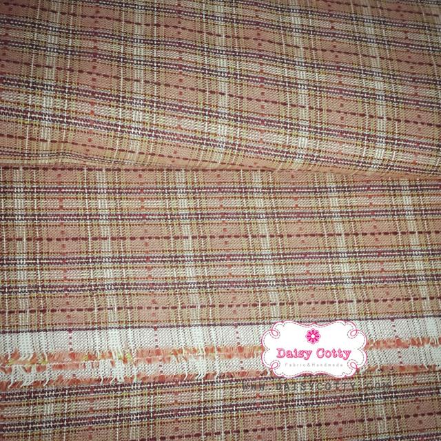 ผ้าทอญี่ปุ่น 1/4ม.(50x55ซม.) สีโอรสลายตาราง