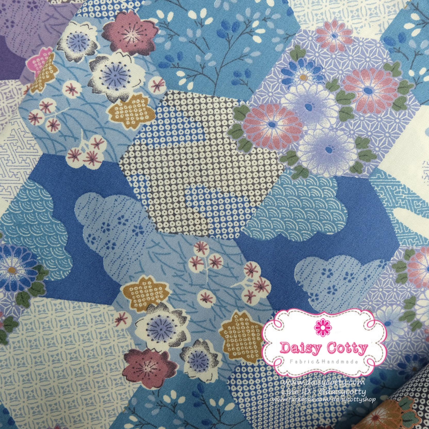 ผ้าคอตตอนไทย 100% 1/4ม.(50x55ซม.) ลายซากุระ โทนสีฟ้า