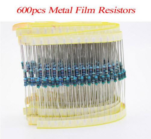 600 ชิ้น 30 ค่า ตัวต้านทาน 1/4W (1%) Metal Film Resistor