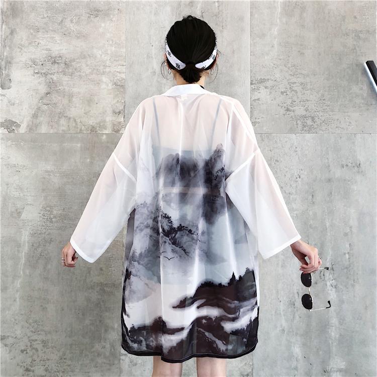 *Pre Order*Cardiganเสื้อคลุมสไตล์กิโมโนญี่ปุ่น one size สีขาว
