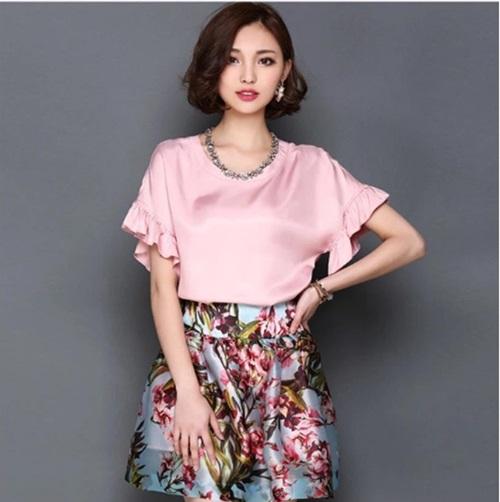 Pre-order เสื้อฤดูร้อนผ้าชีฟอง แขนใบบัว สไตล์ย้อนยุค แฟชั่นเกาหลีแท้ สีชมพู