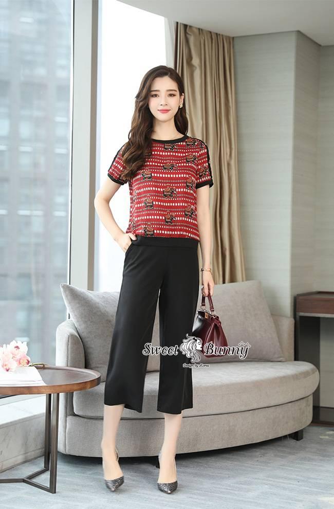 ชุดเซทแฟชั่น ชุดเซ็ทเสื้อ+กางเกงเกาหลี เสื้อผ้าดีเนื้อนุ่มผ้าพิมพ์ลายช้างไทยทั้งตัว