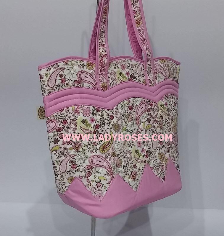 กระเป๋าสะพาย นารายา Size M ผ้าคอตตอน ลายหยดน้ำ สีชมพู ทรงเปลือกไข่ (กระเป๋านารายา กระเป๋าผ้า NaRaYa กระเป๋าแฟชั่น)