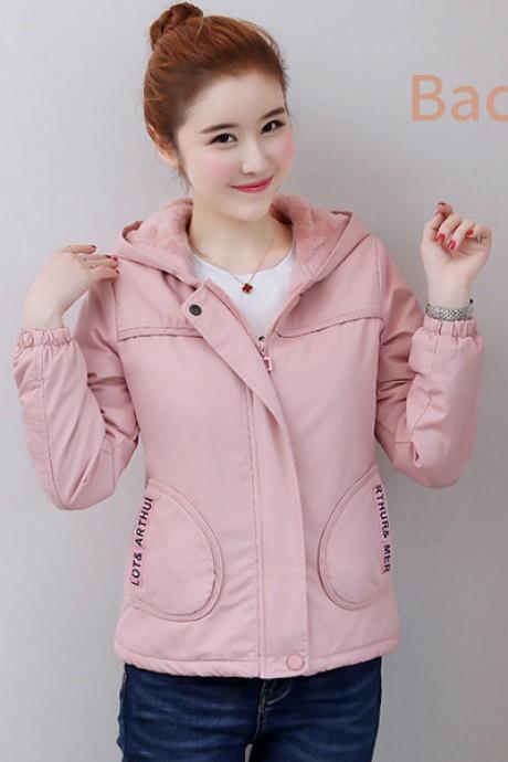 (พร้อมส่ง) เสื้อกันหนาวแฟชั่น เสื้อกันหนาวเกาหลี สีชมพู แขนยาว แต่งจั๊มปลายแขน ซับในบุด้วยผ้าขนสัตว์นุ่มๆ มีฮูทสุดเก๋ แบบซิบรูด กระเป๋า 2 ข้างใช้งานได้
