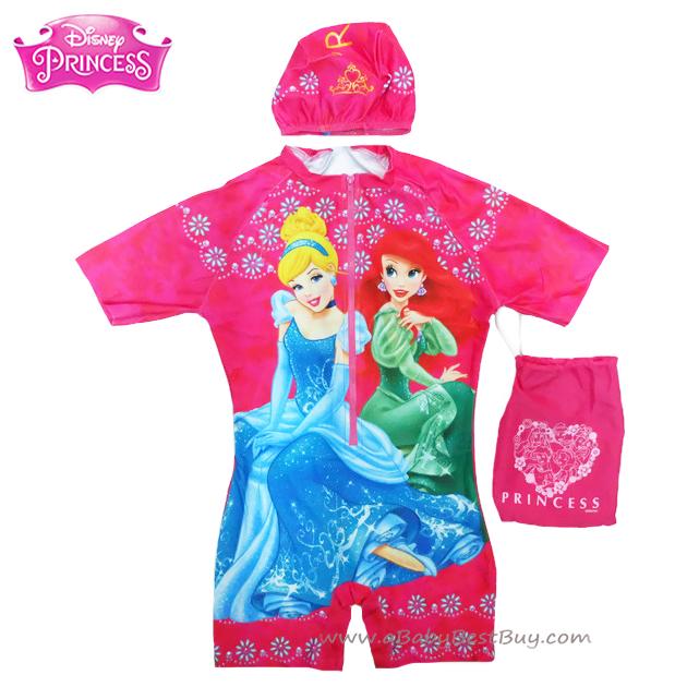 ฮ Size XL - ชุดว่ายน้ำ เด็กผู้หญิง Disney Princess บอดี้สูท สีชมพู เสื้อแขนสั้น กางเกงขาสั้น สกรีนลาย เจ้าหญิงปริ้นซส มาพร้อมหมวกว่ายน้ำและถุงผ้า สุดน่ารัก ใส่สบาย ดิสนีย์แท้ ลิขสิทธิ์แท้ (สำหรับเด็กอายุ 9-10 ปี)