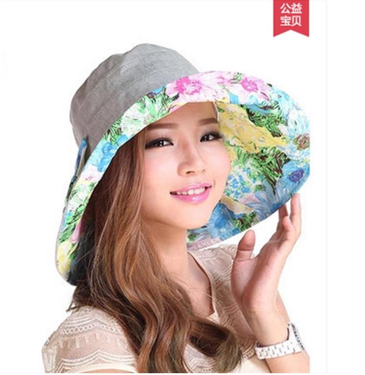 Pre-order หมวกแฟชั่น หมวกใบกว้าง หมวกฤดูร้อน กันแดด หมวกกันแสงยูวี ผ้าลินิน สีเทาพิมพ์ลายดอกไม้โทนสีฟ้า