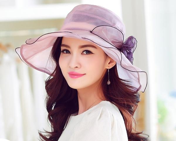 Pre-order หมวกผ้าไหมแท้ติดโบว์ดอกไม้แฟชั่นฤดูร้อน กันแดด กันแสงยูวี สวยหวาน สีม่วง