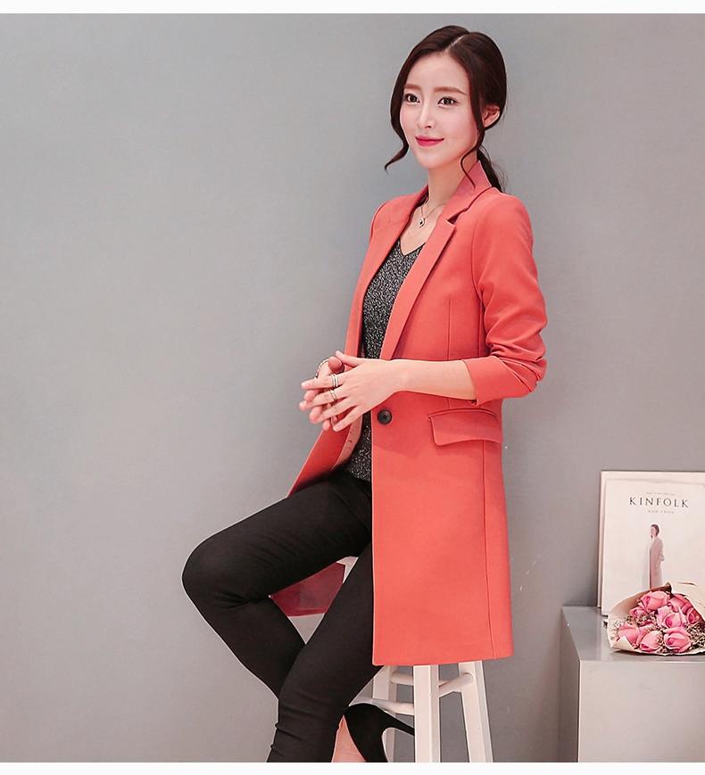 เสื้อสูทโคทยาวกระดุมเดียว มีซับใน กระเป๋าจริง สีชมพูอมส้ม