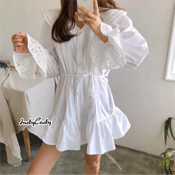 เดรสแฟชั่น มินิเดรสสไตล์เกาหลี มาในโทนสีขาวสวยเนื้อผ้าคอตตอนทรงน่ารัก