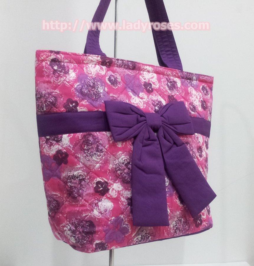 กระเป๋าสะพาย นารายา ผ้าคอตตอน สีชมพู ลายดอกไม้ ผูกโบว์ (กระเป๋านารายา กระเป๋าผ้า NaRaYa กระเป๋าแฟชั่น)