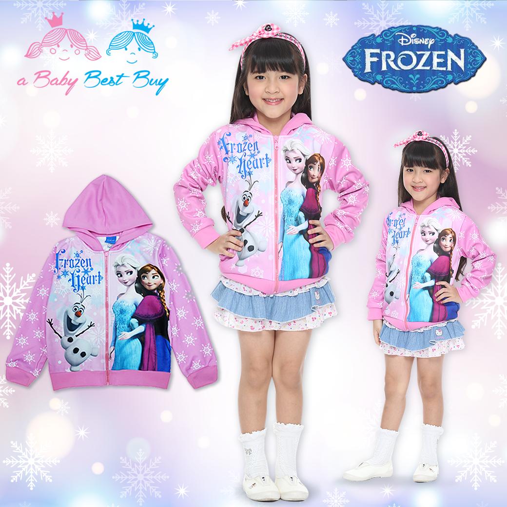 """"""" ( Size 4-6-8-10 ปี ) Jacket Disney Frozen for Girl เสื้อแจ็คเก็ต เสื้อกันหนาว เด็กผู้หญิง สีชมพูอ่อน รูดซิป มีหมวก(ฮู้ด)ใส่คลุมกันหนาว กันแดด ใส่สบาย ดิสนีย์แท้ ลิขสิทธิ์แท้"""