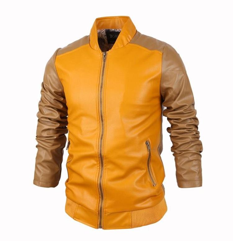 Pre-Order เสื้อแจ๊คเก็ตหนัง PU แบบทูโทน คุณภาพดี ตัดเข้ารูป สไตล์เกาหลีสีเหลือง