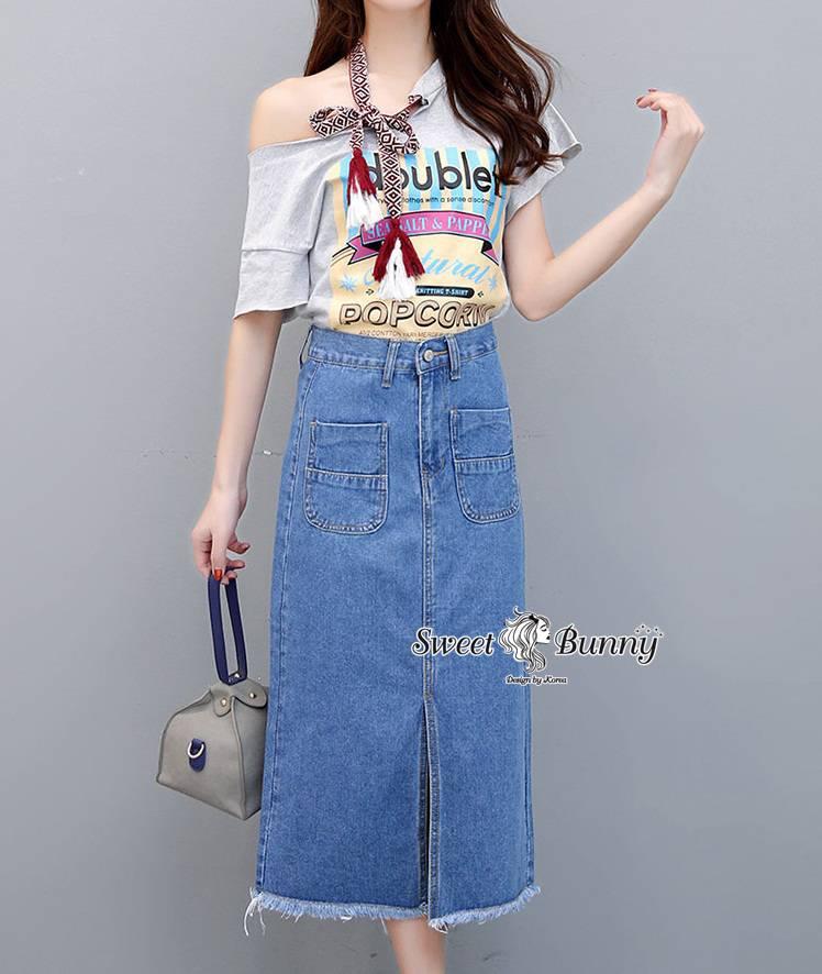 ชุดเซทแฟชั่น ชุดเซ็ทเสื้อ+กระโปรงยีนส์เกาหลี เสื้อผ้ายืดเนื้อดีนุ่ม