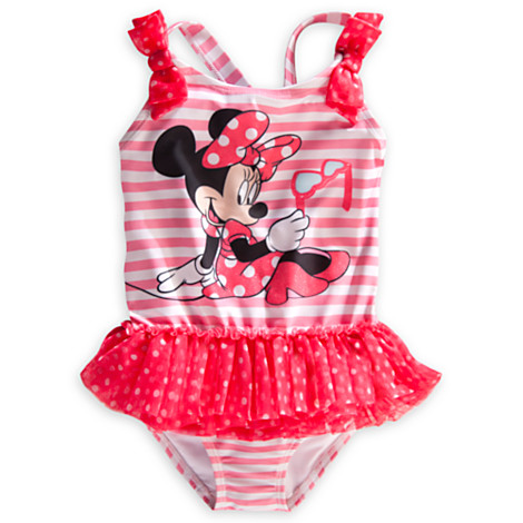 zMinnie Mouse Deluxe Striped Swimsuit for Girls (Size3)