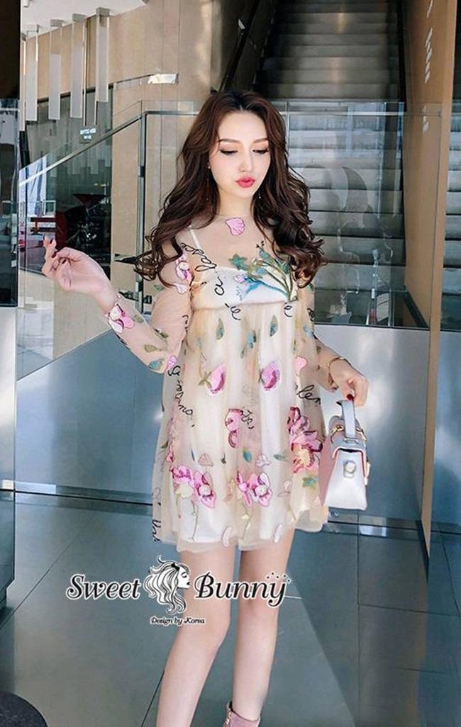 เดรสแฟชั่น ชุดเดรสปักเกาหลี+ซับใน ผ้าตาข่ายเยื้อนุ่มนิ่ม ปักลายดอกไม้สีชมพู