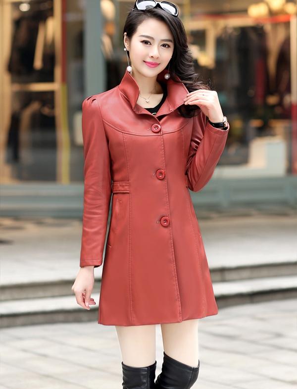 (Pre-order) เสื้อแจ็คเก็ตหนังแท้ เสื้อโค๊ตยาว หนังแกะ แฟชั่นเกาหลี สีชมพู